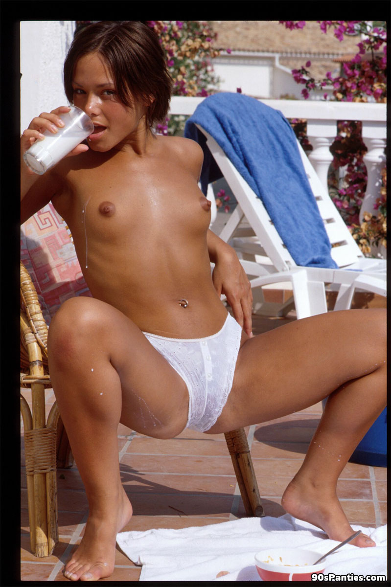 white Topless panties girl