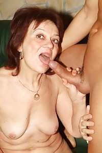 Ginger grandma Paula emptying out an amazing head before she gets her skillful cunt fucked with cock