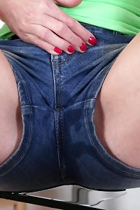 Alessandra cant wait no longer to takes off her denim dress and blue panties